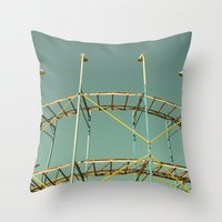 coasters Throw Pillows featuring rollercoaster by Bianca Green