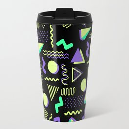 Geometrical retro lime green neon purple 80's abstract pattern Travel Mug
