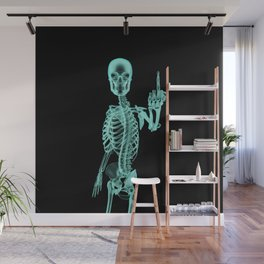X-ray Bird / X-rayed skeleton demonstrating international hand gesture Wall Mural