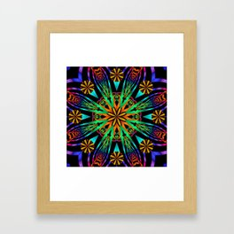 Colourful fantasy flower with tribal patterns Framed Art Print