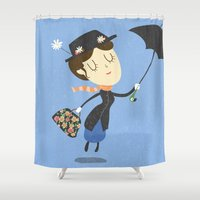 mary poppins Shower Curtains featuring Mary Poppins by Rod Perich