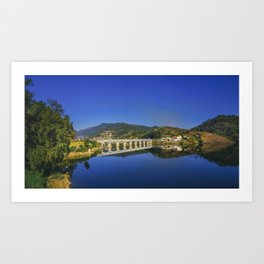 Bridge across Cavado river (Color). Geres National Park, Portugal Art Print