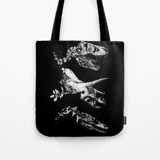 Jurassic Bloom - Black version. Tote Bag