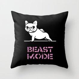 BEAST MODE FRENCH BULLDOG Throw Pillow