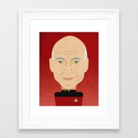 picard Framed Art Prints featuring Captain Picard by Sam Del Valle