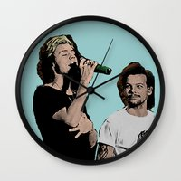 larry stylinson Wall Clocks featuring Pop Art Larry Stylinson  by JodiYoung