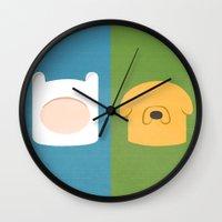 finn and jake Wall Clocks featuring Finn and Jake by Raquel Segal