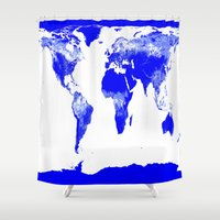 map of the world Shower Curtains featuring World map by Whimsy Romance & Fun