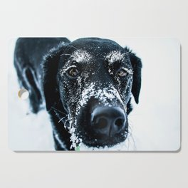 Snow Dog // Cross Country Skiing Black and White Animal Photography Winter Puppy Ice Fur Cutting Board