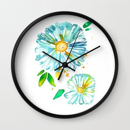 Lakeside Watercolour Blue Daisies Wall Clock