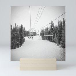 Ski Chair Lift B&W \\ Deep Snow Season Pass Dreams \\ Snowy Winter Mountains Landscape Photography Mini Art Print