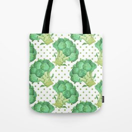 Broccoli on Green dotted Background Tote Bag