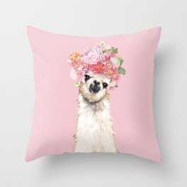Llama with Flower Crown Throw Pillow