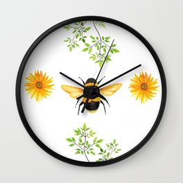 Bees in the Garden v.3 - Watercolor Graphic Wall Clock