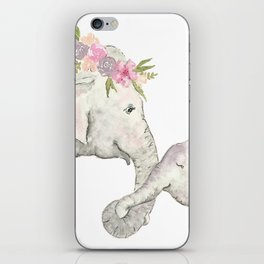 Elephant Mother and Baby Watercolor iPhone Skin