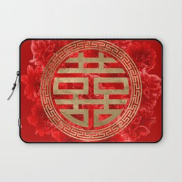 Double Happiness Symbol on Red Peonies Laptop Sleeve