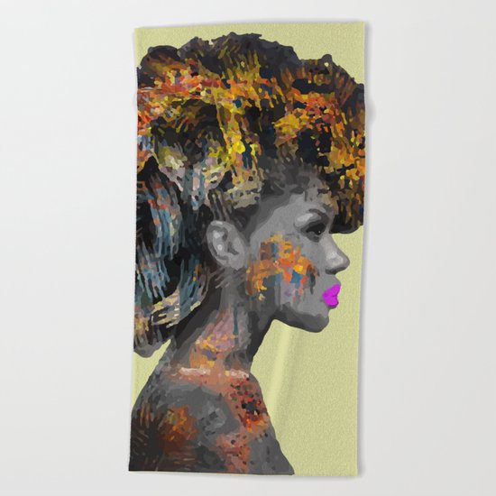 Afro-Girl Beach Towel