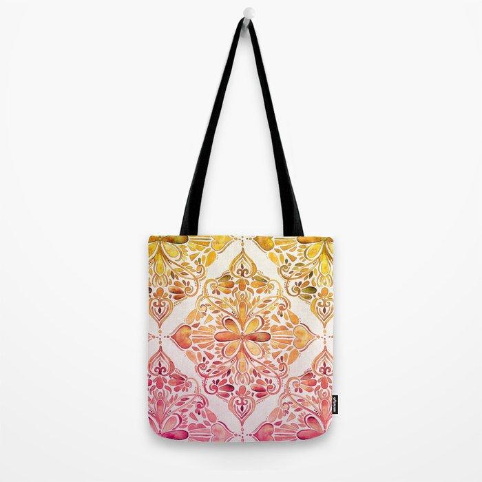 Sunset Art Nouveau Watercolor Doodle Tote Bag