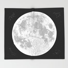 Large Natural Moon Print, by Christy Nyboer Throw Blanket