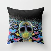 third eye Throw Pillows featuring third eye by Blu*