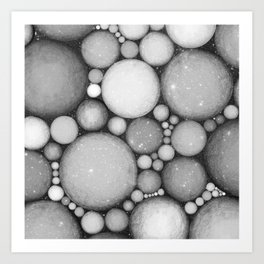 OBLIVIOUS SPHERES IN SPACE BLACK AND WHITE Art Print