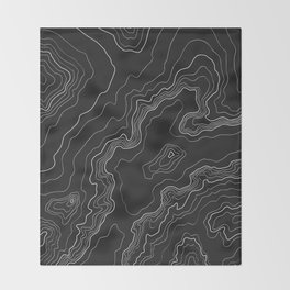 Black & White Topography map Throw Blanket