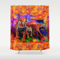 tigers Shower Curtains featuring Psychedelic Tigers by JT Digital Art