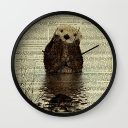 Otter in Love Wall Clock