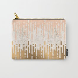 Marble and Geometric Diamond Drips, in Gold and Peach Carry-All Pouch