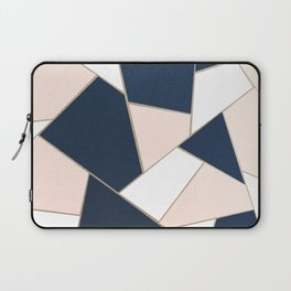 Navy Blue Blush White Gold Geometric Glam #1 #geo #decor #art #society6 Laptop Sleeve