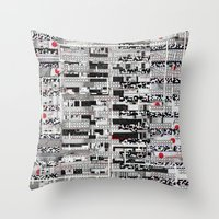 u2 Throw Pillows featuring Opportunistic Species (P/D3 Glitch Collage Studies) by Wayne Edson Bryan