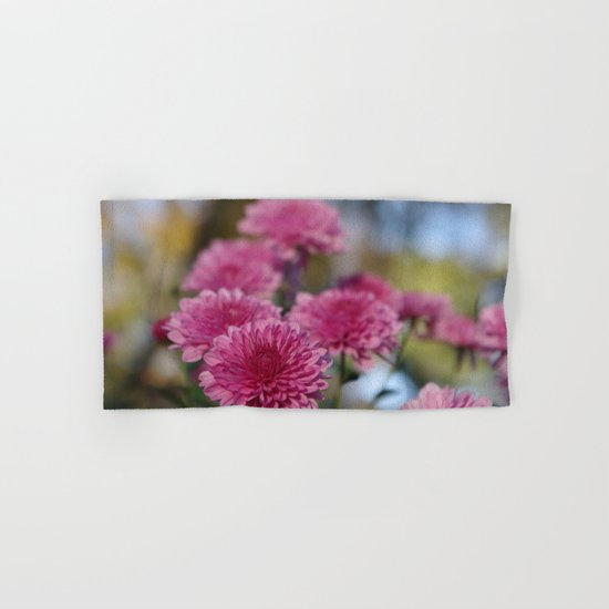Rosy Chrysanthemum with gold leaves, blue sky Hand & Bath Towel