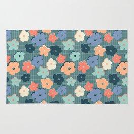 Peach and Aqua Flower Grid Rug