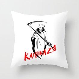Kamikaze Grim Reaper Art Boards Throw Pillow