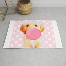Cute dog,golden retriever with chewing gum Rug