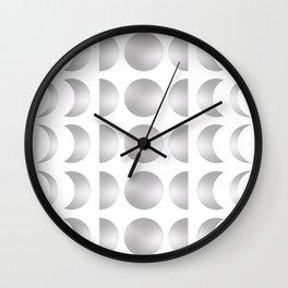 Silver Moon Phase Pattern Wall Clock