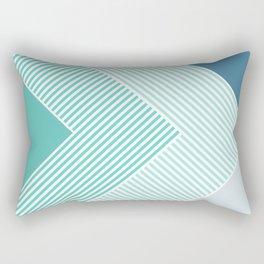Teal Vibes - Geometric Triangle Stripes Rectangular Pillow