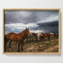 Pride - Horse Watches Over Herd as Storm Approaches Serving Tray
