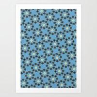 Patrón Flores Azul Art Print