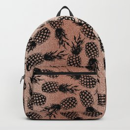 Abstract rose pink black tropical pineapple fruit pattern Backpack
