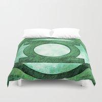 green lantern Duvet Covers featuring Green Lantern: Symbol by André Joseph Martin