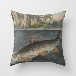 Vintage Illustration of a Hooked Brook Trout (1874) Throw Pillow