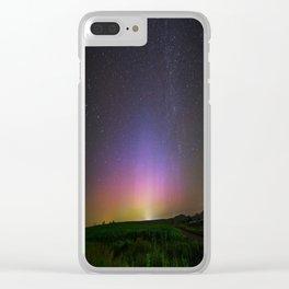 Colorful Aurora Borealis Night Sky Clear iPhone Case