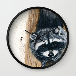 Tree Bandit - raccoon, animal, nature, wildlife Wall Clock