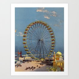 Ferris Wheel at Chicago World's Fair, 1893 Color Print Art Print