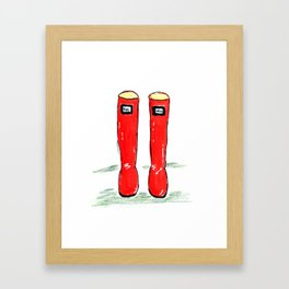 Happy Shiny Red Boots Framed Art Print