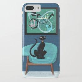 Creature Comforts Mid-Century Interior With Black Cat iPhone Case