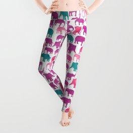 Watercolor Elephant Stampede Pretty Pattern Leggings