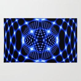 Neon blue glob fractal Rug