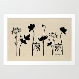 Dark Shadow Butterfly Garden Art Print
